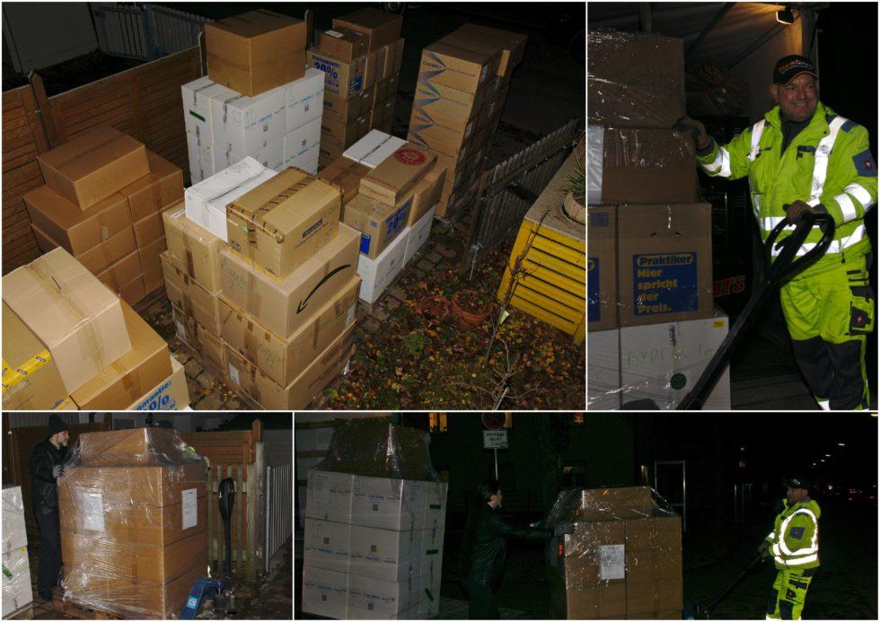 Палетиране на подаръците – 416 коледни кутии на 7 палета