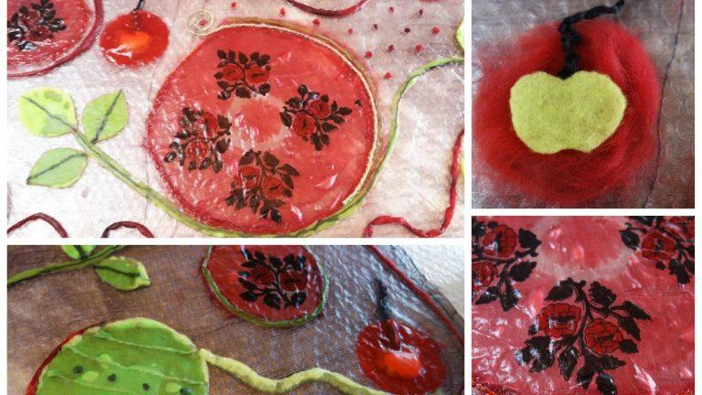 Шалът с узбекистанска коприна, паяжина и ябълкови семчици